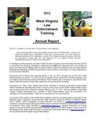2012 West Virginia Law Enforcement Training Annual Report