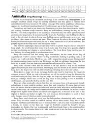 Animalia Frog Physiology - Home Page for Ross Koning