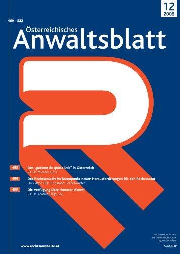 Anwaltsblatt 2008/12 - Die Österreichischen Rechtsanwälte