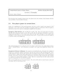 Lecture 2: Examples 2.1 Two-player games in normal form L S H ...