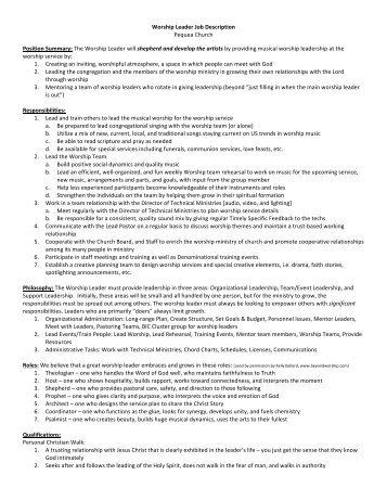 View the job description (pdf) - Brethren in Christ Church