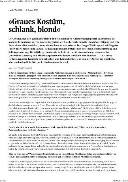 Dagmar Filter im Gespräch über neuen Feminismus und ...