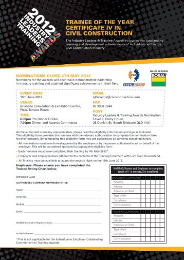 trainee of the year certificate iv in civil construction - Civil Contractors ...