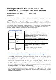 Schema presentazione delle prove di verifica delle conoscenze per l ...
