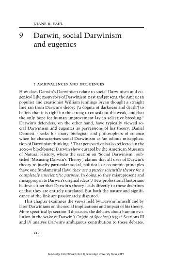 9 Darwin, social Darwinism and eugenics
