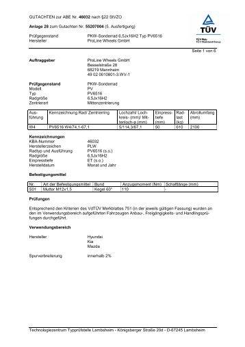 GUTACHTEN zur ABE Nr. 46032 nach §22 StVZO Anlage 28 zum ...