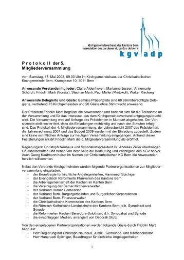 Protokoll der Mitgliederversammlung 2008 - beim ...