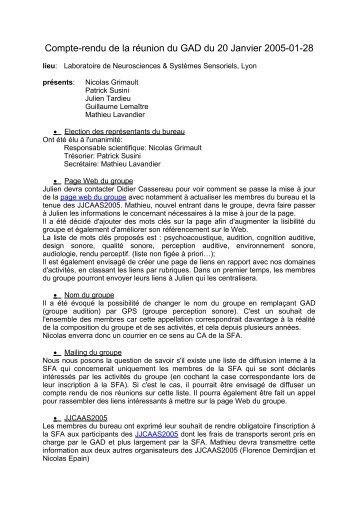 Compte-rendu de la réunion du GAD du 20 Janvier 2005-01-28 - SFA