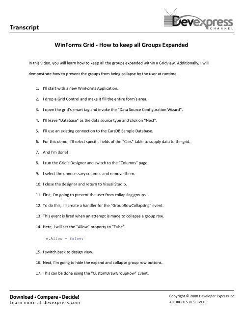 WinForms Grid - How to keep all Groups Expanded - DevExpress