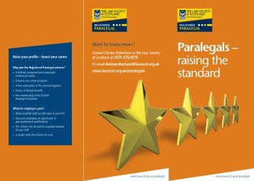 Paralegals – raising the standard - Law Society of Scotland
