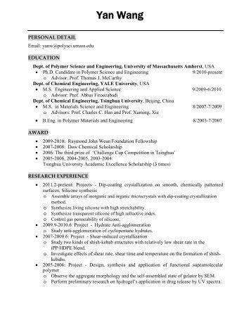 resume polymer science and engineering university of - Polymer Engineer Sample Resume