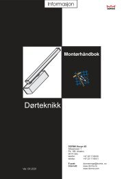 Dorma montørhåndbok 2001 - Mamut ServiceSuite WebShop