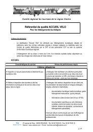 Référentiel de qualité ACCUEIL VELO - Val de Loire tourisme
