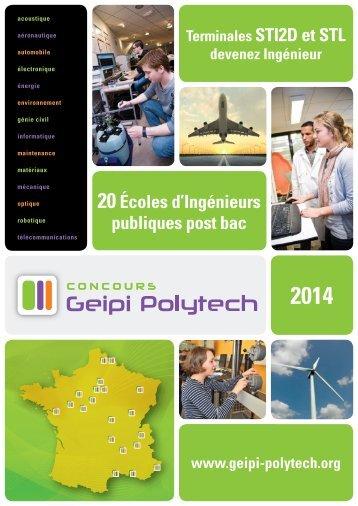 20écoles d'Ingénieurs publiques post bac - Concours Geipi Polytech