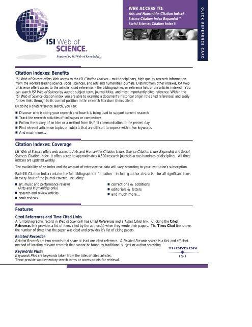 Citation Indexes: Benefits Citation Indexes: Coverage Features