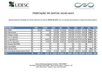 PRESTAÇÃO DE CONTAS JULHO 2013 - CeO - Udesc