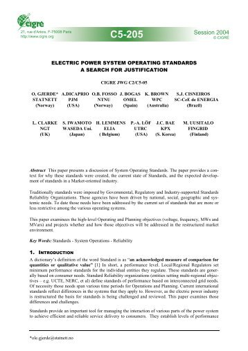 Electric power system operating standards - a search ... - Transform.ru