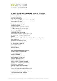 CURSO DE PRODUCTIVIDAD CON FLASH CS4 - cev empresas