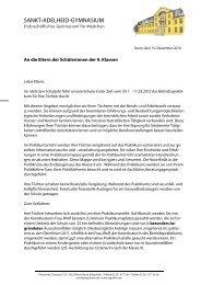 Brief an die Schülerinnen - Sankt-Adelheid-Gymnasiums Bonn