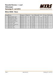 Obbuergen Resultat Rennen, 1. Lauf Samstag 21. Juli 2012 ... - MXRS