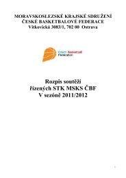 Rozpis mistrovských soutěží 2011/2012 - Oblast Severní Morava - ČBF