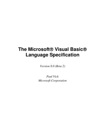 The Microsoft® Visual Basic® Language Specification - Willy .Net