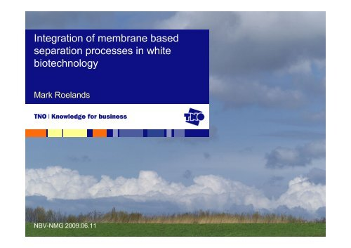Integration of membrane based separation processes in white ... - NBV