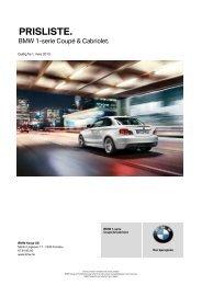 Last ned Gyldig prisliste for BMW 1-serie Cabriolet (PDF, 255k).