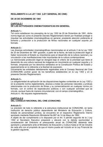 Reglamento ley general del cine - Fundación del Nuevo Cine ...