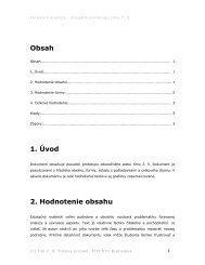 Obsah 1. Úvod 2. Hodnotenie obsahu - matus