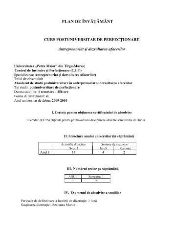 """PLAN DE ÎNVĂŢĂMÂNT - Universitatea""""Petru Maior"""""""