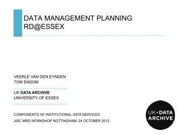 Data Management Planning presentation - UK Data Archive