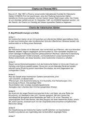 Charta von Florenz(1981) Charta der historischen Gärten - SKR