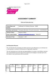 ASSESSMENT SUMMARY - Randwick College Wiki