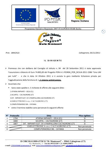 Graduatoria di merito provvisoria Antintrusione - 2 Circolo Didattico ...