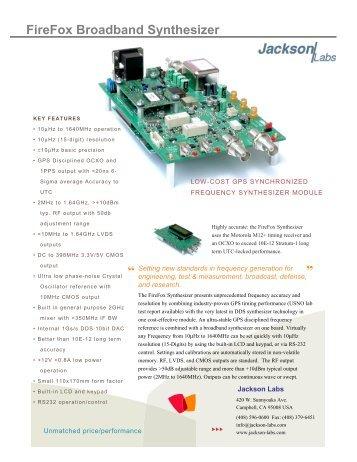FireFox Broadband Synthesizer – OEM Model - Jackson Labs ...