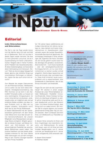 Editorial - Gewerbeverband Uster