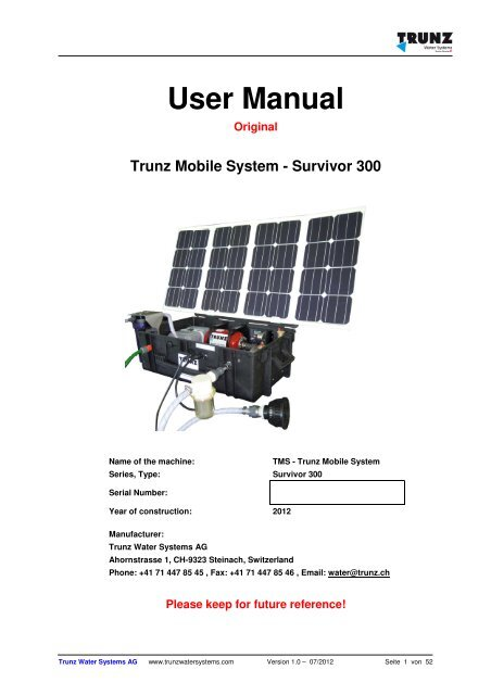 Solar Portable Water Purification Tms Survivor