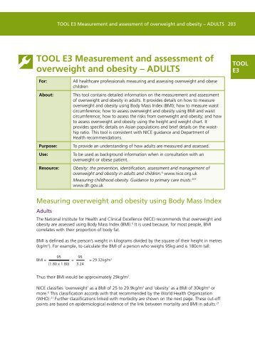 TOOL E3 Measurement and assessment of overweight and obesity ...