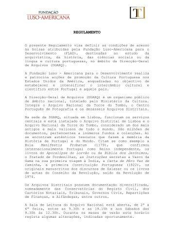 FLAD Regulamento 2011 - Direção-Geral de Arquivos