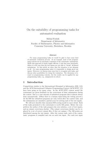 On the suitability of programming tasks for automated evaluation - KSP