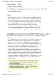 Complexité, médecine générale et réformes des systèmes de santé