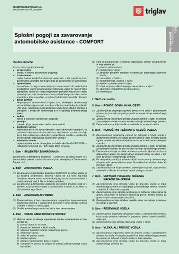 Splošni pogoji za zavarovanje avtomobilske asistence - COMFORT