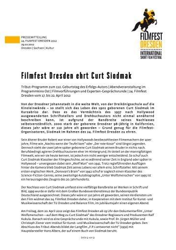 Filmfest Dresden ehrt Curt Siodmak