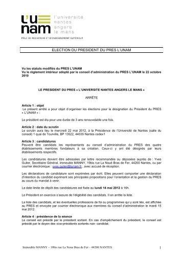 Arrêté- élection président mai 2012 - signé - L'UNAM