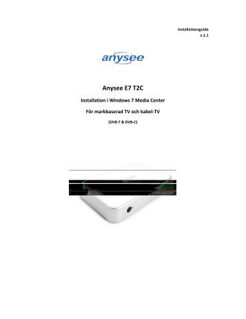 DOWNLOAD DRIVERS: ANYSEE E7 S2