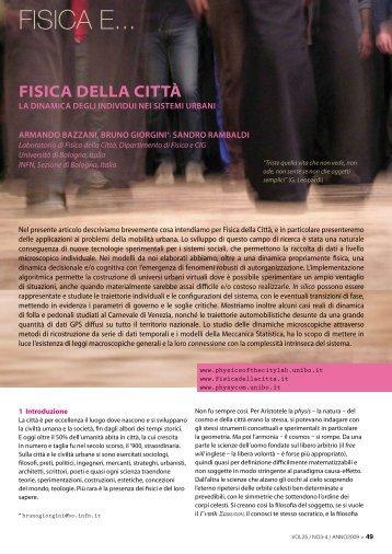 Fisica della città - Società Italiana di Fisica