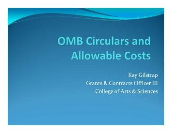 OMB Circulars & Allowable Costs - College of Arts & Sciences ...