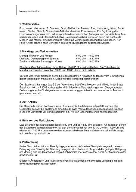 Vorschrift für den Stadtmarkt auf dem Marktplatz - Messen & Märkte