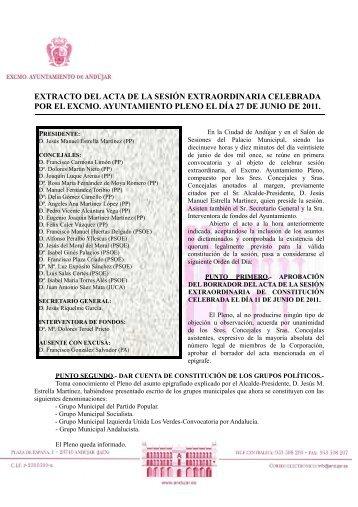 extracto acta pleno extraordinario 27 junio 2011 - Ayuntamiento de ...